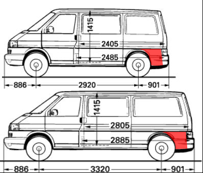 vw t4 arkos dalis uz galinio rato, transporter arka, multivan skarda uz rato, caravelle skarda uz galinio rato