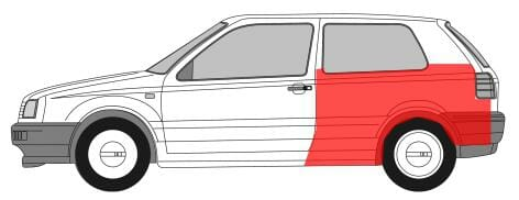 VW Golf 3 1991-1998 Galinis sparnas,VW Golf 3 1991 galo skardos,VW Golf 3 1991 galinis sonas,VW Golf 3 1991 kebulas