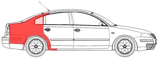 VW Passat B5 1997- 2000 Galinis sparnas, VW Passat B5 1997 sonas,VW Passat B5 1997 skarda kebulo