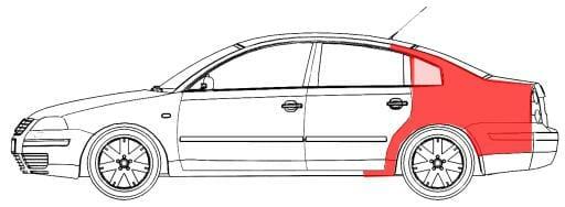 VW Passat B5 1997- 2000 Galinis sparnas SEDANAS,VW Passat B5 1997 galo sonas