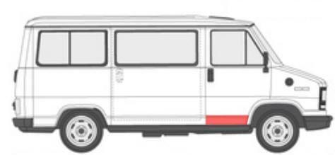 Fiat Ducato/Peugeot J5/Citroen C25 (1981-/1990-) Durų skarda, dešinės (keleivio) pusės.