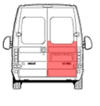 Fiat Ducato/Citroen Jumper/Peugeot Boxer (1994- 2006) Galinių durų skarda iki lango, dešinės (keleivio) pusės.