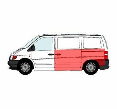 MB Vito (1996-) Šono skarda, kairės (vairuotojo) pusės, ilgis [cm] 234, aukštis [cm] 96