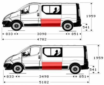 Renault Trafic/Opel Vivaro/Nissan Primastar (2001- 2014) Šono dalis, Renault Trafic/Opel Vivaro/Nissan Primastar skardos,Renault Trafic/Opel Vivaro/Nissan Primastar šonai