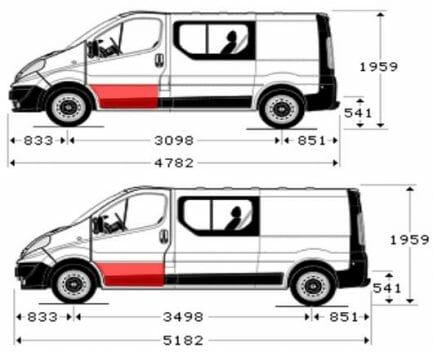 Renault Trafic/Opel Vivaro/Nissan Primastar (2001- 2010) Priekinių durų apačios dalis, Renault Trafic/Opel Vivaro/Nissan Primastar durų skarda