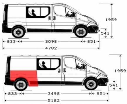 Renault Trafic/Opel Vivaro/Nissan Primastar (2001- 2014) Galinis sparnas,Renault Trafic/Opel Vivaro/Nissan Primastar galine arka