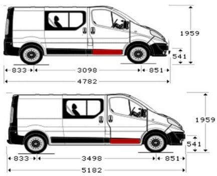 Renault Trafic/Opel Vivaro/Nissan Primastar (2001- 2014) Priekinių durų lovys, Renault Trafic/Opel Vivaro/Nissan Primastar duru vidine dalis