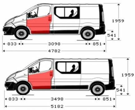 Renault Trafic/Opel Vivaro/Nissan Primastar (2001- 2014) Priekinių durų skarda iki stiklo, Renault Trafic/Opel Vivaro/Nissan Primastar durų skarda,Renault Trafic/Opel Vivaro/Nissan Primastar durų išorė,Renault Trafic/Opel Vivaro/Nissan Primastar durys