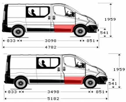 Renault Trafic/Opel Vivaro/Nissan Primastar (2001- 2014) Priekinių durų apačios skarda, dešinės (keleivio) pusės. Aukštis [cm] 29.