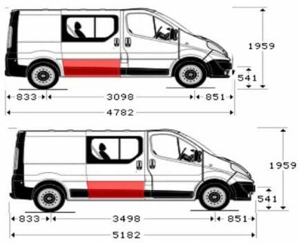 Renault Trafic/Opel Vivaro/Nissan Primastar (2001- 2014) Slankiojančių durų apačia,Renault Trafic/Opel Vivaro/Nissan Primastar stumdomų durų skarda